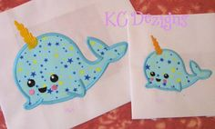 Whale Unicorn Applique