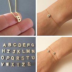 shixin® cadena clásico con alfabeto Inglés pulsera de aleación de oro 23cm de las mujeres (1 unidad) 2016 - $0.99