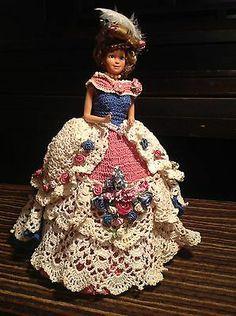Vintage Barbie Style Fashion Dress Crochet Beautiful Flowers Feather Pink Blue