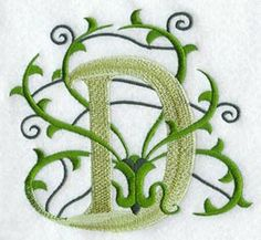 Vines Letter D - 3 inch design (W4556) from www.Emblibrary.com