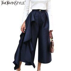33.4 49% de réduction Deuxtwinstyle pantalon à volants pour femmes taille  haute pantalon Large en bas femme décontracté Palazzo bas grandes tailles  ... 343925d1297