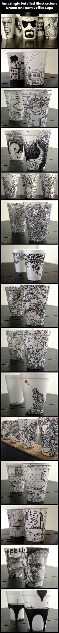 We have rounded up some incredible coffee cup illustrations created by a geeky artist.