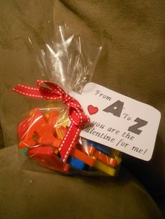 Bag of magnetic letters tied up & tagged, Valentine gift for preschool class