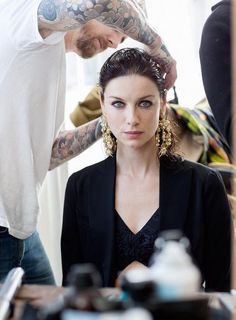 BTS pic of Caitriona Balfe from her Glamour Italy photoshoot.