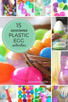 Easter plastic egg activities for kids science, sensory, math, fine motor Easter Activities For Preschool, Easter Games For Kids, Spring Activities, Diy For Kids, Preschool Kindergarten, Easter Ideas, Stem Activities, Preschool Science, Kids Fun