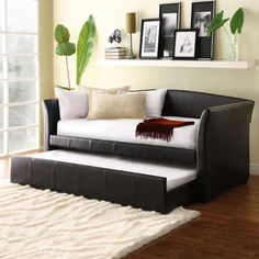 Great idea for a spare room... TRIBECCA HOME Deco Dark Brown Faux Leather Daybed with Trundle