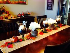 Fall table runner. #flowers # pumpkins #leaves