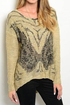 Butterfly Print Stud Sweater - Only 1 S/M & 2 M/L in Stock