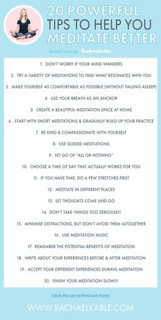 "20 Powerful Tips to Help you Meditate Better by Rachael Kable. Discover helpful and practical meditation tips, plus get your free copy of my guide ""How to Create a Beautiful Meditation Space at Home"". Meditation Mantra, Power Of Meditation, Meditation Benefits, Meditation Space, Meditation Practices, Meditation Music, Guided Meditation, Types Of Meditation, Chakra Meditation"