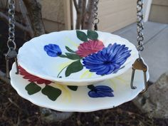 Hanging Bird Feeder, Teacup Bird Feeder, Mid Century Dishes, Bird Lovers Gift, Wild Bird Feeder, DotnBettys Original, Brushed Silver Chain