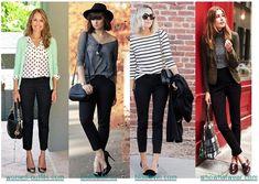 С чем носить женские черные классические брюки?