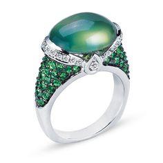 VannaK.com Diamonds: Round .29CT Tsavorite 1.37CT Phrenite 8.47CT Assert yourself with a gleaming ring that demands to be seen!