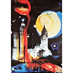 Salvador Dali, Manhattan skyline, New York, art, lithograph,... (€190) ❤ liked on Polyvore featuring home, home decor, wall art, skyline wall art, limited edition plates, new york wall art, unframed wall art and new york plates