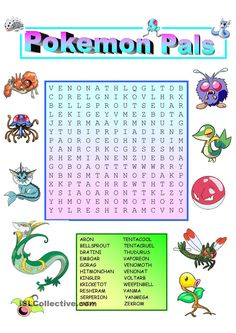 Pokemon characters appeal to children. Discuss the names of the pictured Pokemons and describe them. Children should know how to read and spell their names also before completing the wordsearch. Pokemon Go, Pokemon Names, Pokemon Craft, Pokemon Party, Pokemon Birthday, 7th Birthday, Birthday Ideas, Birthday Cake, Pokemon Word Search