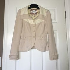 FREE PEOPLE JACKET Cream colored free people jacket, floral inside, good condition, button detailing, blazer like fit, comfortable material Free People Jackets & Coats Blazers
