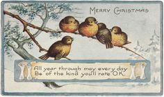 Tammy Tutterow Vintage Image   Christmas Birdies
