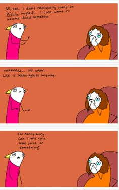 Thank you Hyperbole and a Half for explaining my entire life from 11 to 25 in three little boxes. Life with depression. Dealing With Depression, Depression Support Groups, Hyperbole And A Half, All Jokes, Mental Health Problems, Mental Health Awareness, Funny Comics, Girlfriends, Funny