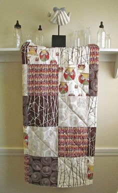 Baby Quilt  Owl  Flannel or Minky Back  Brown by FernLeslieBaby, $98.00