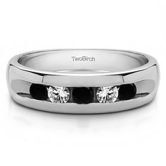 Men's Sterling Silver 0.75 Ct. Black And White Cubic Zirconia Wedding Fashion Ring (Two Tone Sterling Silver, Size 10.5), Two-Tone
