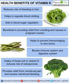 The health benefits of Vitamin K include blood clotting, osteoporosis, menstrual pain, internal bleeding, biliary obstruction and excessive menstrual flow.