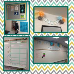 I like the double layer bulletin board.  Also, I like the idea of the pom poms hanging from ceiling...just not too many.