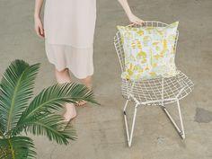 Pattern design by Björn Rune Lie. Yellow Cushion Covers, Yellow Cushions, Printed Cushions, Light Turquoise, Silk Screen Printing, Mustard Yellow, Pattern Design, Fabric, Prints