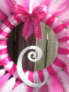 Hot Pink and Light Pink Tulle Tutu Ballerina Princess Wreath by KraftinMommy