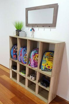40 school bag storage ideas - The Organised Housewife Get organised and prepared for busy school mornings with these 40 clever, creative and clutter-free school bag storage ideas. School Bag Storage, School Bag Organization, Backpack Organization, Home Command Center, Command Centers, Cube Storage, Storage Ideas, Kids Shoe Storage, Kids Bedroom Storage