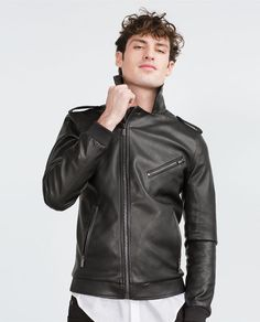 Image 4 of FAUX LEATHER BIKER JACKET from Zara