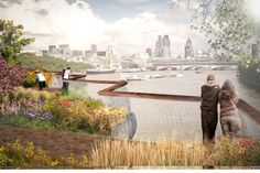 """commuter to make his way back over the Thames,"""" says Lumley.  """"There will be grasses, trees, wild flowers, and plants, unique to London's natural riverside habitat. And there will be blossom in the spring and even a Christmas tree in mid-winter. I believe it will bring to Londoners and visitors alike peace and beauty and magic."""""""