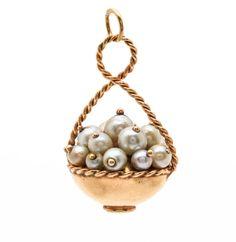 14K Yellow Gold Cultured Pearl Basket Pendant
