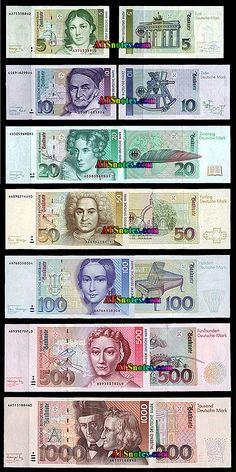 german money | 10 20 50 100 200 500 1 000 mark