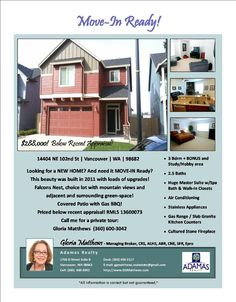 Sun Open 1-4pm: $288,000! 3 Bdrm, 2.5 BA 2302 SF Two Story Falcons Nest View Home on .1 Acre Lot with Local Green-space in Vancouver, WA!