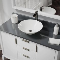 Rene by Elkay R2-5015-B-R9-7007 Biscuit Porcelain Vessel Sink with Vessel Faucet and Vessel Pop-Up Drain (