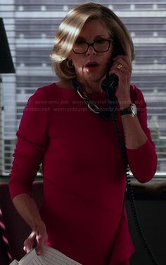 Diane's pink long sleeved dress with side ruffle on The Good Wife.  Outfit Details: https://wornontv.net/36991/ #TheGoodWife