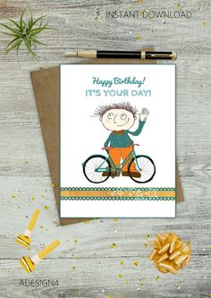 Its Your Day! Hand Drawn Birthday Cards - Boy Greeting Cards - Bday - E-Cards - Instant Download - Printable Image - Digital Art - DIY Card - pinned by pin4etsy.com