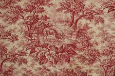 Antique French pique Provence Quilt c1870 red stag toile de Jouy fabric textile