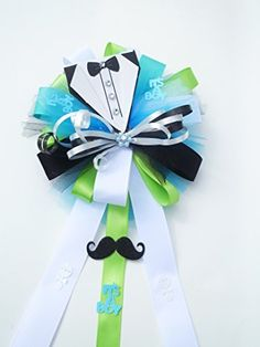 Tuxedo Mustache Little Man Baby Shower Themed Corsage for Mother to Be (It's a Boy - Aqua Blue, White and Lime Green), http://www.amazon.com/dp/B00UTU7KBS/ref=cm_sw_r_pi_awdm_l77Kvb0V14DZA