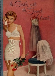 French Accent Girdle. 1950s fashion. Vintage lingerie