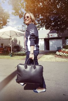 Deputy Team Principal, Claire Williams and her Dom Reilly briefcase Martini Racing, Red Bull Racing, F1 Drivers, One Team, Formula One, Leather Accessories, Claire, Briefcase, China