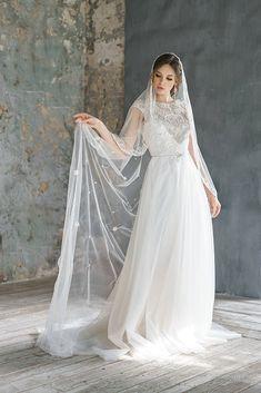Wedding dress, soft tulle, 100% natural soft silk, lace Wedding dress ANIMAISA