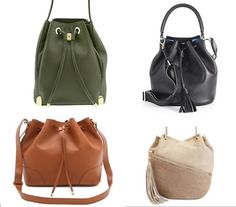 Drawstring bucket bags. #handbags #style #fashion #streetstyle #winter2014 #spring2014