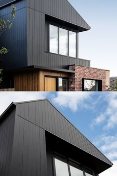 Brick, Timber and classic Axon Cladding work well together to form a stunning exterior! Cladding Design, House Cladding, Facade House, House Exteriors, Black Cladding, Timber Cladding, Exterior Wall Design, Facade Design, Timber Walls