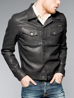 Nudie Black Coated Denim Jacket