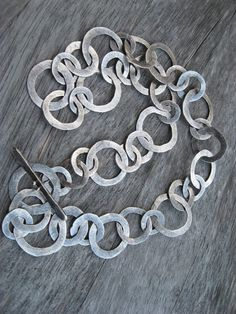 Sterling silver hand fabricated artisan washer link chain necklace on Etsy, $340.00