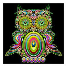 ✿ #Owl #Psychedelic #Popart #Poster SOLD! ✿   by #BluedarkArt - #Zazzle - Thanks :) (clipped to polyvore.com) https://bluedarkart.wordpress.com/2015/07/05/owl-psychedelic-popart-poster-sold-thanks