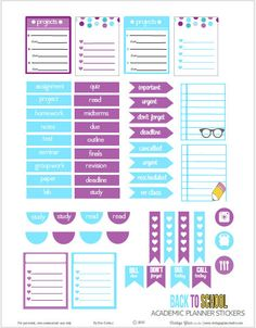 FREE Back to School  Planner Stickers | Free Printable Download by Vintage Glam Studio