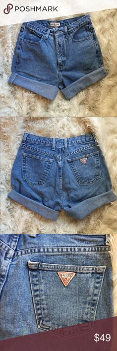 VTG guess high waisted shorts size 30 GUESS JEANS SIZE 30  One small stain on the rear Please see pictures for best idea of condition   Happy to combine shipping  All items come from a smoke free home Guess Shorts Jean Shorts