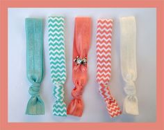 5 Elastic HAIR TIES Aqua and Coral Chevron with by CrownedPeacock, $7.50