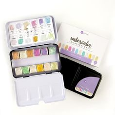 Prima Marketing - Presenting two gorgeous new Watercolor Confection Tins by Prima! This one is Celestial - filled with a glimmer-filled palette of gorgeous pastel colors
